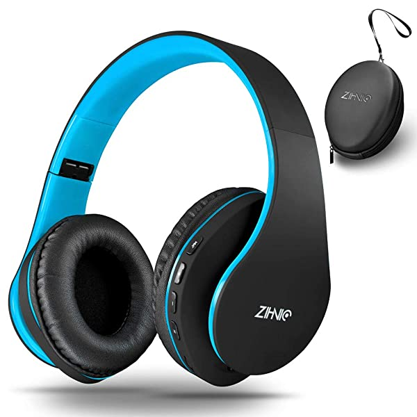 Wireless Over-Ear Headset with Deep Bass, Bluetooth and Wired Stereo Headphones Buit in Mic for Cell Phone, TV, PC,Soft Earmuffs &Light Weight for Prolonged Wearing by Zihnic (Black/Blue) (Color: black/blue01)