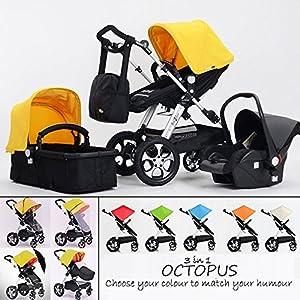 Cochecito Completo de bebé combinado 3 en 1 - Cochecito de bebé, silla de paseo y silla de coche, OCTOPUS amarillo