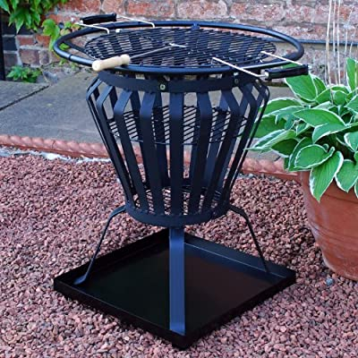 Patio Fire Basket Fire Pit With Barbecue Grill by Worldstores
