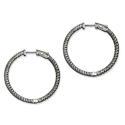 Sterling Silver Black Plated With CZ Round Hoop Earrings