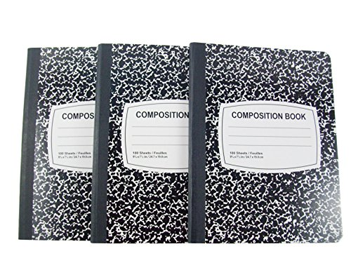 JOT Wide Ruled Marble Composition Notebook - 3 Pack (Black)