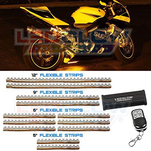 12Pc Yellow Led Flexible Motorcycle Light Kit