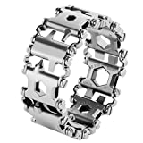 Multi Tool Bracelet,LETIN Stainless Steel Wearable Tread Multifunctional 29 IN 1 Bracelet Screwdriver Tool for Sailing/Travel/Camping Hiking Outdoor Emergency Kit for Christmas Gift (Sliver) (Color: Sliver)