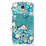 Mavis's Diary Blue Luxury 3D Handmade Full Bling Crystal & Rhinestone Flowers Bow Design Hard Cover Case with Soft Clean Cloth for Samsung Galaxy S4 IV I9500 I9505 SPH-L720, SGH-I337 SCH-I545 SGH-M919 SCH-R970 S4 LTE-A S4 La Fleur edition