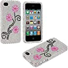 myLife (TM) Pink + Black Flowers - Rhinestone Series (2 Piece Snap On) Hardshell Plates Case for the iPhone 4/4S (4G) 4th Generation Touch Phone (Clip Fitted Front and Back Solid Cover Case + Rubberized Tough Armor Skin)
