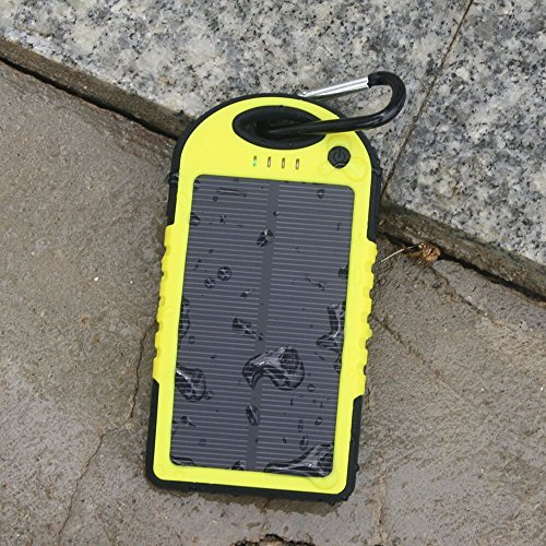 5000Mah Solar Battery Panel Dual Usb Port Rain-Resistant, Dirtproof And Shockproof Portable Charger Backup External Battery Pack Power Bank For Iphone 5S, 5C, 5, Iphone 4S, 4,Ipad Air, Mini (Apple Adapters Not Included) Samsung Galaxy S5, S4, S3, S2, Note front-116364