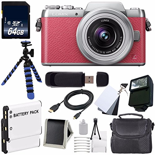 Panasonic Lumix DMC-GF7 Mirrorless Micro Four Thirds Digital Camera with 12-32mm f/3.5-5.6 ASPH. Lens (International Model No Warranty) (Pink) + Replacement Lithium Ion Battery + 64GB SDXC Class 10 Memory Card + Carrying Case + External Flash + Micro HDMI Cable + 12-Inch Flexible Tripod with Gripping Rubber Legs + SD Card USB Reader + Memory Card Wallet + 3 Piece Digital Grey Balance Cards Set + Deluxe Starter Kit Bundle (Panasonic Sdxc 64gb compare prices)