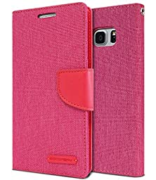 Galaxy Note 7 Case, [Drop Protection] GOOSPERY® Canvas Diary [Denim Material] Wallet Case [ID Card / Cash Slot] with Stand Flip Diary Cover w/ TPU Casing for Samsung Galaxy Note 7, Pink / Pink