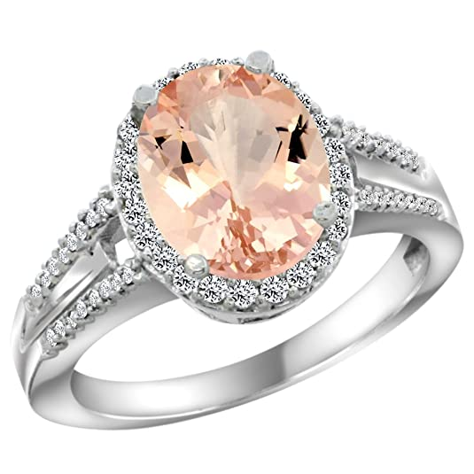 Revoni 14ct White Gold Natural Morganite Ring Oval 10x8mm Diamond Accent