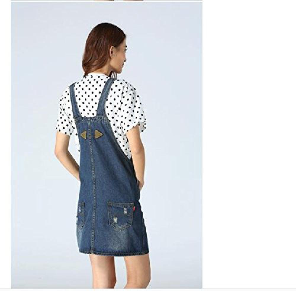 Skirt BL Women's Blue Vintage High Waist Suspender Denim Overall Mini Jean Dress 2
