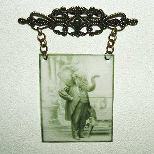 ELEPHANT ANIMAL MAN PHOTOGRAPH BROOCH Pin FAUX HAUNTED Ghost Picture Halloween Creepy