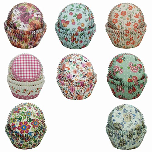 SophieBella 8 kinds Flower Muffin Liner Cupcake-Liner, 400 Count
