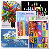 Birthday Greeting Card Assortment, 2 each of 5 different designs, box of 10 cards & envelopes