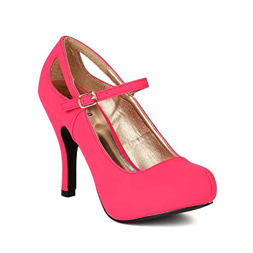 Qupid BB44 Women Nubuck Mary Jane Cutout Platform Heel Pump - Fuchsia