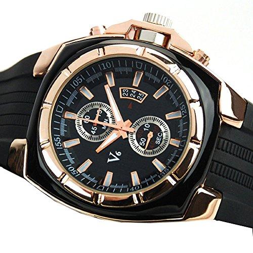Dayan Sports Watch Steel Case Military Calendar Watch Quartz Watches Round Dial Analog Wristwatch Black