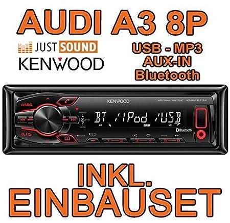 AUDI a3 8P-kenwood kMM-bT34-bluetooth/mP3/uSB avec kit de montage encastré pour autoradio-système actif pour machine