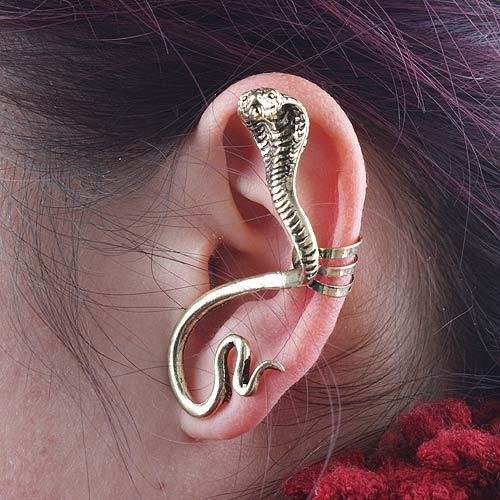 Beauty Info(TM) Punk Style Ear Wrap Ear Cuff Earring For Pierced Ears Ear Cuff Stud Earring Charm Jewelry Rock Dragon Cobra Cat Snake (Gold Cobra)
