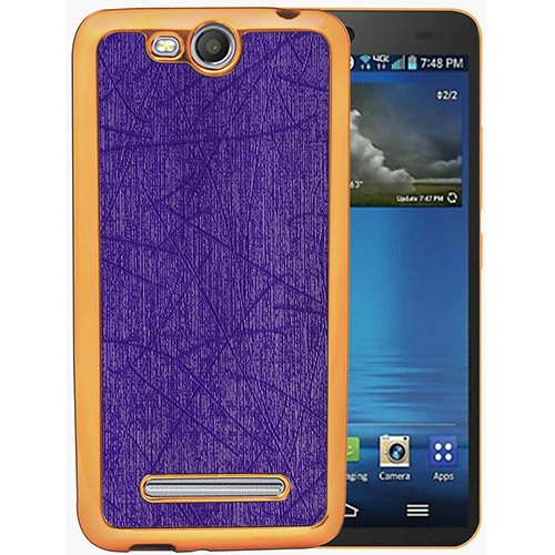 Casotec Electroplated Edge Chrome TPU Leather Back Case Cover for Micromax Canvas Juice 3 Q392 - Purple  available at amazon for Rs.149