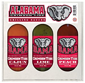 Alabama Crimson Tide Ncaa Grilling Gift Set 12oz Cajun 12oz Lime 12oz Peach by Hot Sauce Harry's