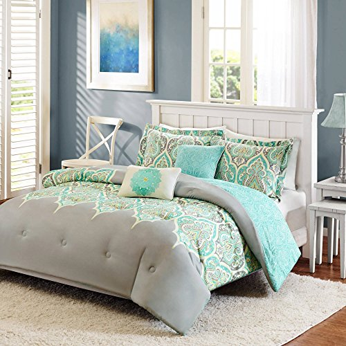 5-Piece-Multi-color-Royal-Green-Gray-Aqua-Clear-Blue-Full-Queen-Comforter-Set-Bohemian-Abstract-Kashmir-Bedding-Set-Beautiful-Damask-Designs-Grey-Vibrant-Colors-Pretty-Stylish-Pattern