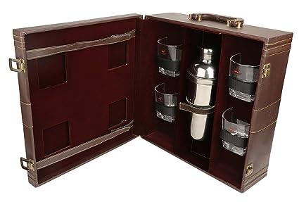 Pu cuero diseñador marrón vino portador caso viaje arriba manija caja regalo conjunto