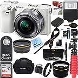 Sony Alpha a6000 24.3MP Wi-Fi Mirrorless Digital Camera + 16-50mm Lens Kit (White) + 64GB Accessory Bundle + Photo Bag + Extra Battery+Wide Angle Lens+2x Telephoto Lens+Flash+Remote+Tripod