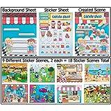 18 Make-a-sticker Scene Variety Pack (Design Your Own Pizza Shop, Sweet Bake Shop, Circus, Farm, Beach, Fairytale, Aquarium, Ranch, and Pet Shop)