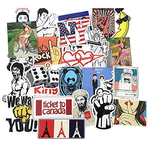 Youareking (150/50 Pack) Random music film Vinyl Skateboard Guitar Travel Case Stickers Car Bike Travel Suitcase Phone Decals Mix Lot Fashion Cool (50) (Pack Of Stickers compare prices)