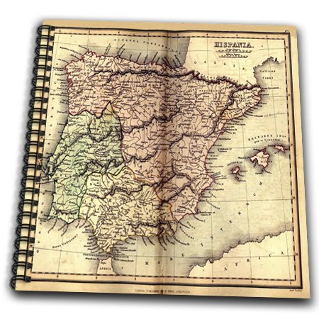 Florene - Vintage Maps - Print Of 1849 Map Of Spain In Spanish - Drawing Book - Drawing Book 8 X 8 Inch - Db_195772_1 front-276888