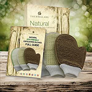 The World's Best Exfoliating Gloves Set! Natural Eco Friendly Body Scrub Exfoliator Pack: Bamboo Fiber and Loofah, Jute and Sisal Mitts with Printed Guide and Free Finger Exfoliator Thermalabs Patent