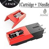 Arsvita Record Player Cartridge,Diamond Stylus Needles Replacement for Turntable, LP,Phono/Phonograph(2 Pack) (Tamaño: 1Needle+1Cartridge)