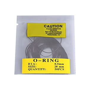 O-Ring Watch Back Gaskets, 950pcs/set Universal Rubber O-Ring Seal Gaskets for Watch Back Cover 0.5/0.6/0.7mm 12mm-30mm(0.5mm) (Color: Black)