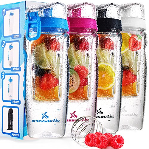 Crossactiv 32oz Fruit Infused Water Bottle - 3in1 Protein Shaker bottle + Bottle Bag + Recipe eBook with Superfood Healthy Infuser Guide! BPA Free Leakproof Fruit Infuser Combo, 32oz Capacity! (Water Bottle Fruit Mixer compare prices)