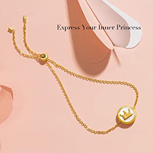 Sterling Silver Rose Tone Childrens Princess Crown Heart Link Bracelet