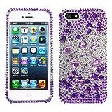 Lumii Ark 3D Bling Crystal Design Case for Apple iPhone 5 - Purple Heart Flower