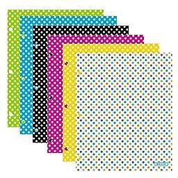 4 Pk. BAZIC Laminated Bright Glossy Polka Dot Colored 2-Pockets Portfolios with 3 punched holes