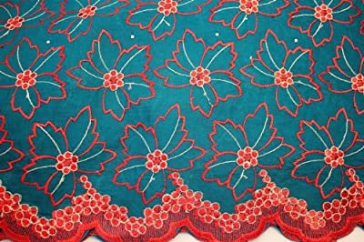 Teal, Floral Voile Design Blended Cotton Embroidery African Lace Fabric in 10 Color (By Yard)