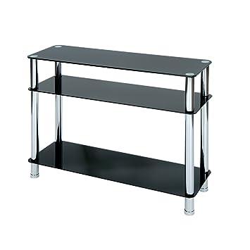 levv table console console en verre avec pieds chrom s noir cuisine maison maison o264. Black Bedroom Furniture Sets. Home Design Ideas