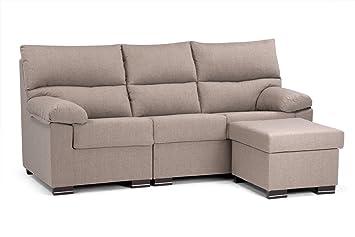 Sofá 3 plazas + chaise longue modelo Betria, Color Inari-C25-choco