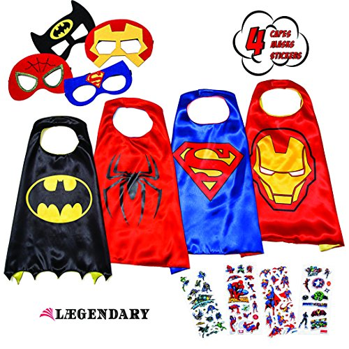 LAEGENDARY Superhero Costumes for Kids - 4 Capes and Masks - Glow Spiderman Logo