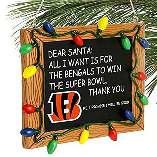 Cincinnati Bengals Official NFL 3 inch x 4 inch Chalkboard Sign Christmas Ornament (Bengals Merchandise compare prices)