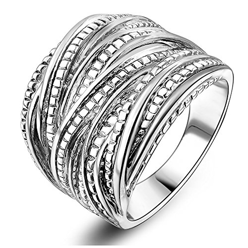 Mytys Rhodium Plating Retro Vintage Silver Interwined Design Fashion Rings (9)
