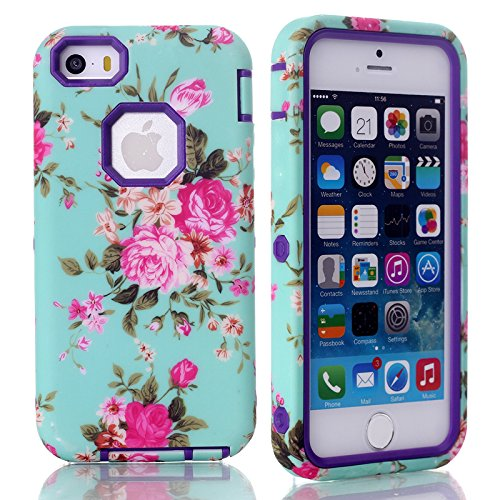 Rosepark(Tm)Fashion 3 In 1 Hybrid Pc + Tpu Flowers Pattern Fit Slim Impact Cover Case For Apple Iphone 5C(Purple) With Screen Protector, Stylus Pen And Cleaning Cloth