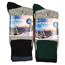TeeHee Recycled Cotton Thermals Boot Socks S/50766 Black + Green 4 pairs, Size 10-13