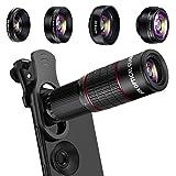 Phone Camera Lens Kit, Mikikin 5 in 1 Cell Phone Lens - 20X Telephoto Zoom Lens, 20X Macro Lens,198° Fisheye Lens, 0.62X Wide Angle Lens & 2X Zoom Lens for iPhone Xs XR X/8/7/6/5s Plus Samsung