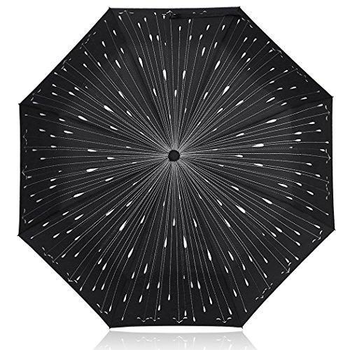 Plemo Regenschirm, Regentropfen Automatik Regenschirm Taschenschirm Schirm (94 cm Durchmesser) -