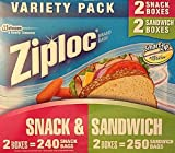 Ziploc Variety Pack - 240 Snack Bags and 250 Sandwich Bags