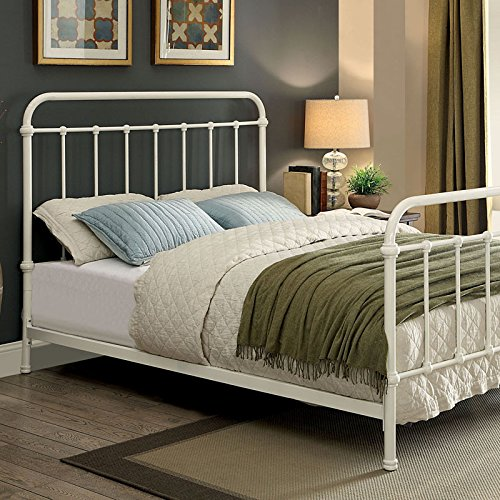 Iria Contemporary Vintage Style Rustic White Finish King Size Bed Frame Set 0