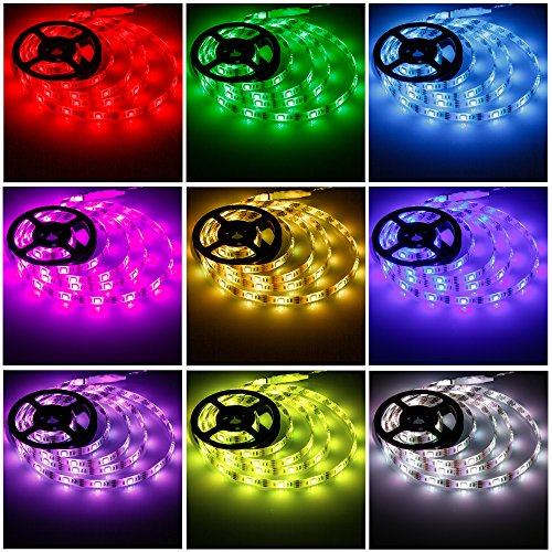 Battery Powered Led Strip Lights,Geekeep Waterproof Flexible LED Light Strips SMD 5050 LED Ribbon Light Mood Light (2M/6.56ft, RGB+Remote Control) (Flexible Led Lights Strip compare prices)