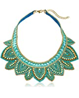 """Turquoise Colored Beaded Gold-Tone Bib Statement Necklace, 16"""" + 3"""" Extender"""